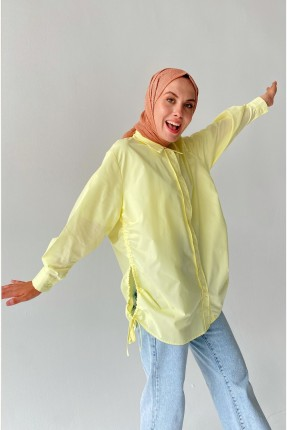 قميص نسائي مزموم عند الجوانب - اصفر