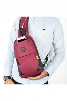 حقيبة يد رجالية مزينة بسحاب - خمري
