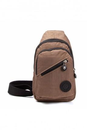 حقيبة يد رجالية مزينة بسحاب - بني