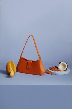 حقيبة يد نسائية بقفل - برتقالي