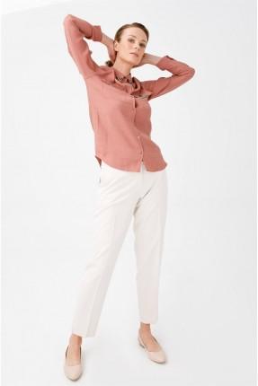 قميص نسائي مزين بقطع معدنية - وردي