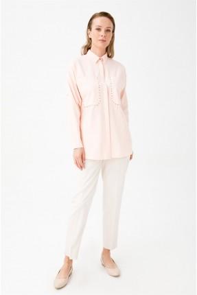 قميص نسائي مزين بستراس - زهري