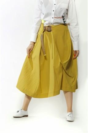 تنورة طويلة مزينة بحزام - اصفر