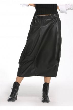 تنورة طويلة جلد - اسود