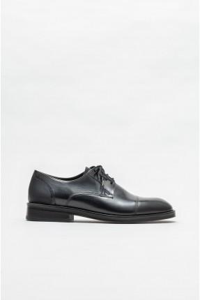 حذاء رجالي جلد  سادة اللون - اسود