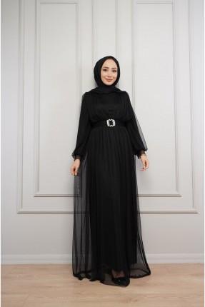 فستان رسمي مزين بطيات - اسود