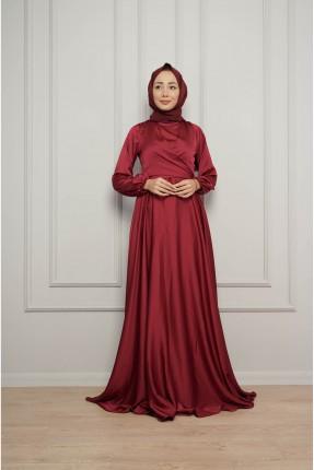 فستان رسمي سادة اللون - خمري