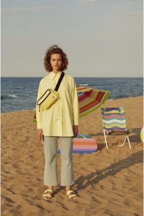 قميص نسائي مزين باربطة - اصفر