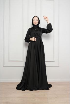 فستان رسمي باكمام مزمومة - اسود