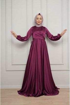فستان رسمي سادة باكمام مزمومة