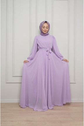 فستان رسمي باكمام طويلة - بنفسجي