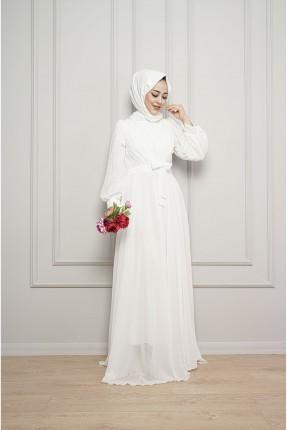 فستان رسمي سادة اللون - ابيض