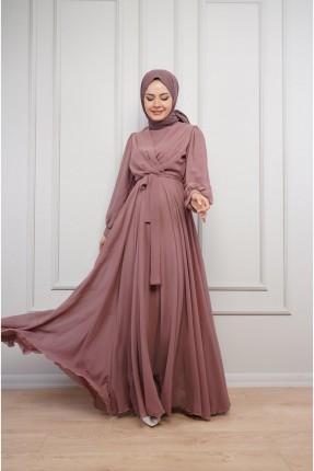فستان رسمي سادة باكمام عريضة