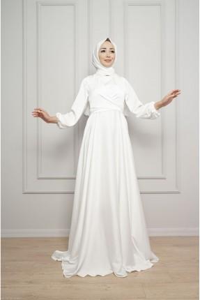 فستان رسمي باكمام مزمومة - ابيض