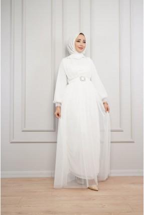 فستان رسمي مزين بحزام - ابيض