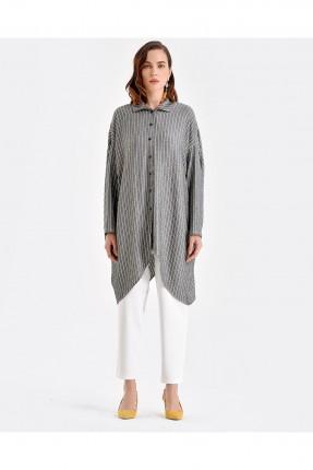 قميص نسائي مقلم - اسود