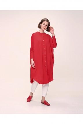 قميص نسائي سادة اللون - احمر
