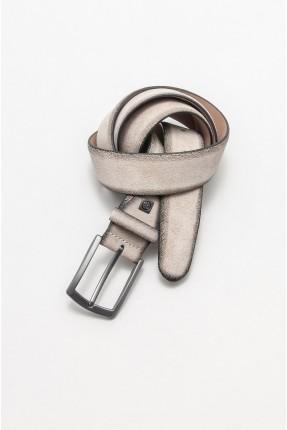 حزام رجالي جلد - بيج