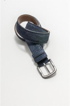 حزام رجالي جلد بدرزة - كحلي