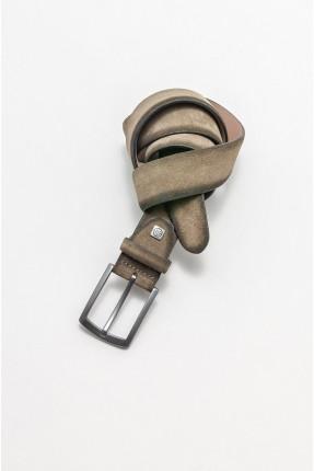 حزام رجالي جلد - اخضر
