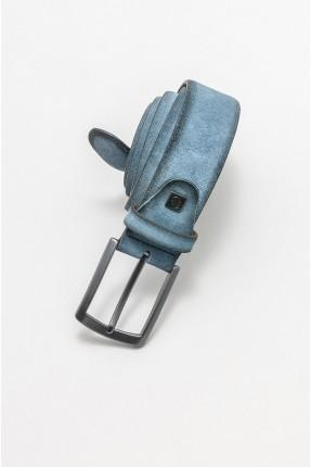 حزام رجالي جلد - ازرق