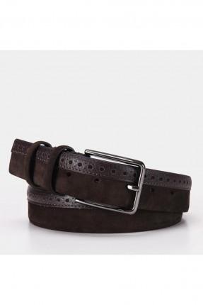 حزام رجالي جلد بثقوب - بني