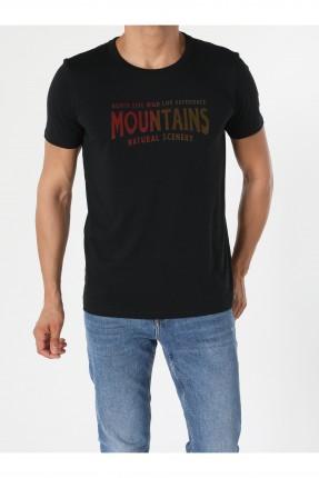 تيشرت رجالي مزين بطبعة MOUNTAINS - كحلي