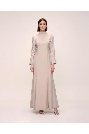 فستان رسمي نسائي مزين بشك على الصدر - بيج