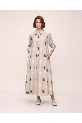 فستان نسائي مزين برسمة ورق شجر