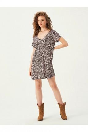 فستان قصير بياقة V