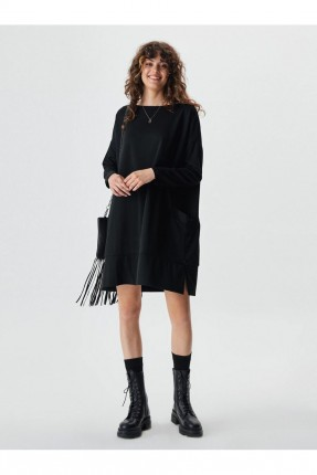 فستان مزين بجيب - اسود