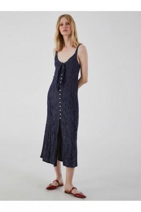 فستان مخطط مزين بازرار