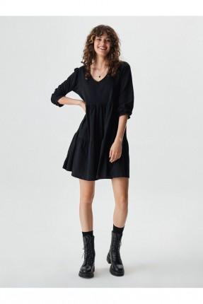 فستان قصير سادة اللون - اسود