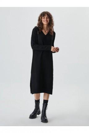 فستان طويل بياقة V - اسود