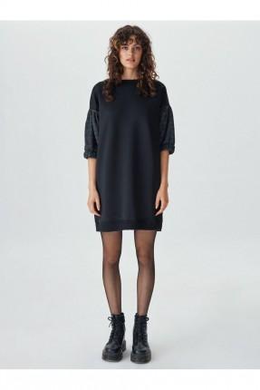 فستان باكمام مزمومة