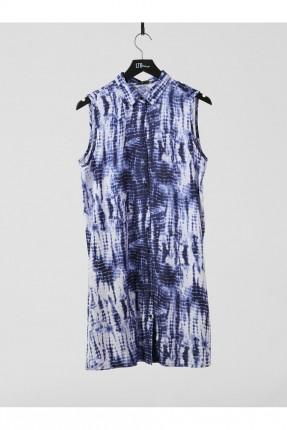 فستان موديل قميص مزين بنقش