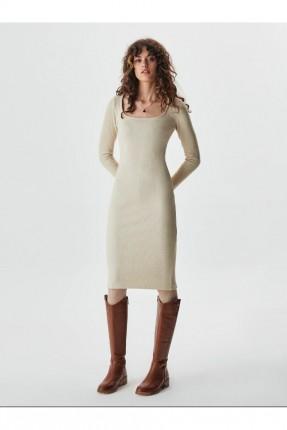 فستان سادة باكمام طويلة