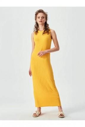 فستان طويل سادة اللون - اصفر