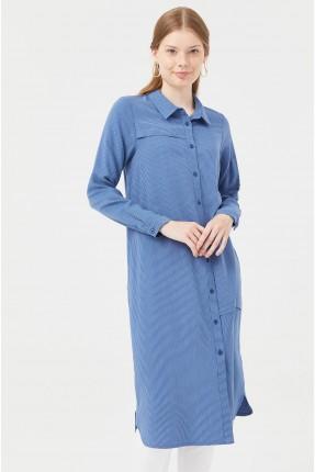 قميص نسائي طويل مخطط - ازرق