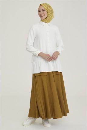 تنورة طويلة مزينة بمطاط من الخلف