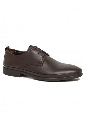 حذاء رجالي جلد سادة - بني