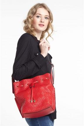 حقيبة يد نسائية مزينة بشراشيب - احمر