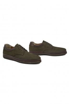 حذاء رجالي جلد برباط - زيتي