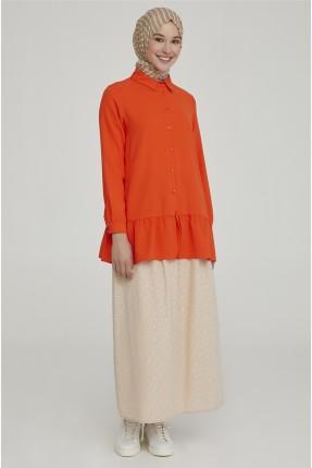 تنورة طويلة مزينة بفيونكة عند الخصر - بيج