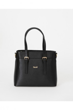 حقيبة يد نسائية مزينة بشعار الماركة - اسود