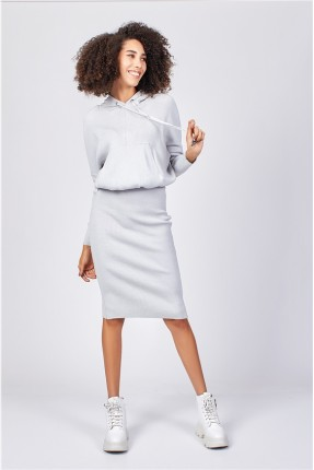 فستان مزين بكابيشون - رمادي