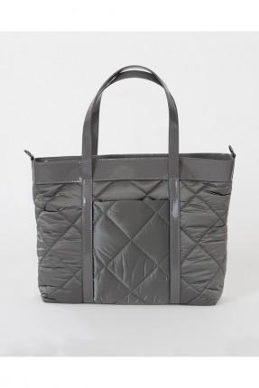 حقيبة يد نسائية بخطوط درزة - رمادي