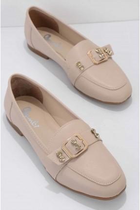 حذاء نسائي مزين بالستراس - بيج
