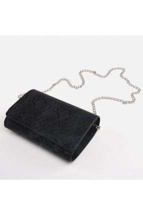 حقيبة يد نسائية مزينة بنقشة - اسود