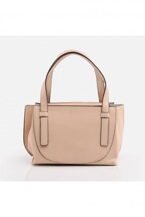 حقيبة يد نسائية مزينة بخط مغاير اللون - بيج